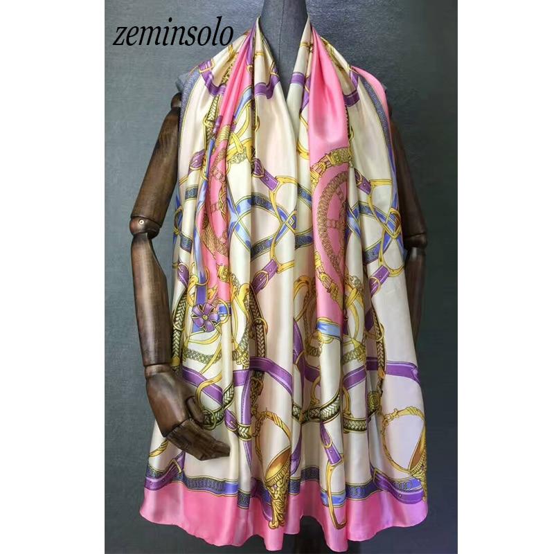 d8066269c 2018 Luxury Brand New Summer Women s Scarf Silk Scarves Print Soft Shawls  Pashmina Fashion Lady Foulard Femme Large Size Bandana