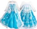 2015 snow queen princesa anna elsa muchachas del vestido Cosplay Del Traje Del Vestido Del Vestido vestidos de fiesta Kids fantasia vestido Menina infantis