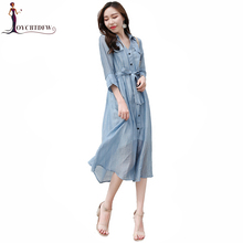 Summer Dress Women 2018 New Fashion Slim Mid Long Paragraph Solid Color Shirt Female Blue Seven-sleeved Lady Xy067