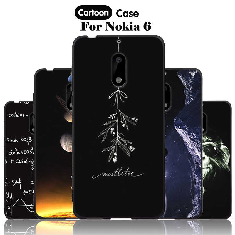 JURCHEN Mobile Case For Nokia 6 Cover For Nokia6 Cover Silicone Cute Cartoon Paint 3D Luxury TPU Soft For Nokia 6 Case Hoesje 30