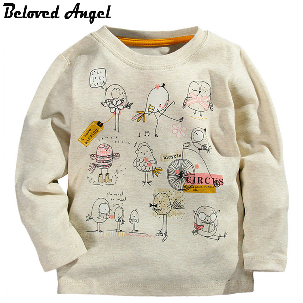 Beloved Angel Children Long Sleeve T-Shirt Autumn Winter 100% Cotton Kids Tee Cartoon Bird Baby Boys Girls T Shirt 1- 6 Years 2017 spring autumn 1 6t kids cotton long sleeve t shirt baby boys girls age number blouse tops children pullovers tee camiseta