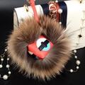 Fashion Bag Charm Real Raccoon Fur Pom Poms Bag Bug Monster Bag Bugs Charm Genuine Fox Fur Pompom Keychain Leather Pendant F105