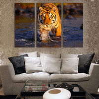 Free Shipping 3pcs/set Tiger Oil Painting Printed On Canvas Wall Pictures For Home Decoration