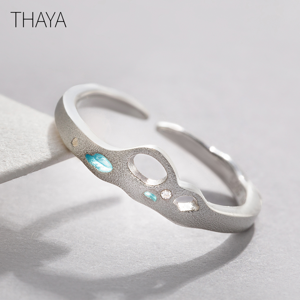 Thaya Facing The Sea Rings Blue Zirconia 925 Silver Jewelry for Women Lover Wedding Gift