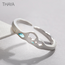 Thaya Facing The Sea Rings Blue Zirconia Rings 925 Silver Jewelry for Women Lover Wedding Gift facing the modern