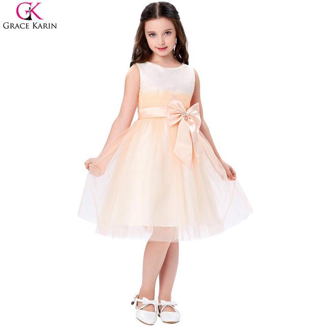 Gk 2017 orange baratos vestidos da menina de flor com tule para o casamento crianças vestido de noite vestido de concurso para crianças comunhão vestido