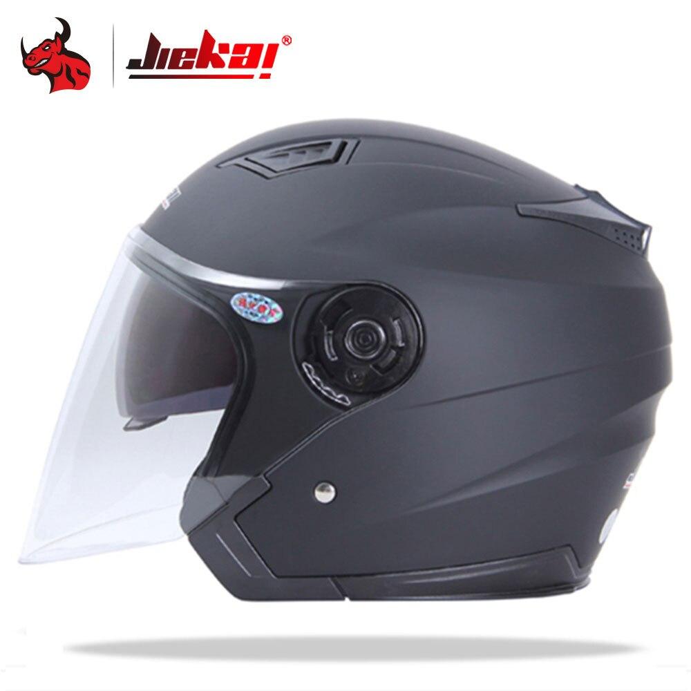JIEKAI Casco Moto Open Viso Moto Casco Motociclo Cascos Para Moto Caschi Da Corsa Moto D'epoca Doppia Lente Nero