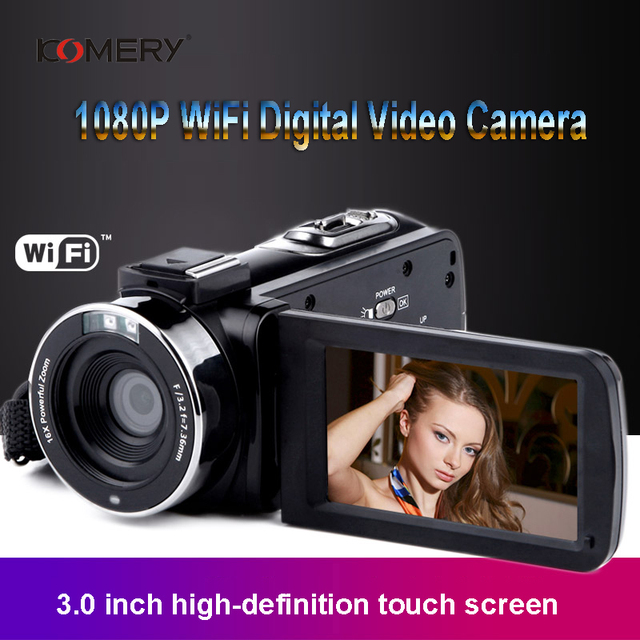 KOMERY Video Camera 1080P Full HD Portable Digital Video Camera 16X Digital Zoom 3.0 Inch Touch LCD Screen Camcorder With Wifi 5