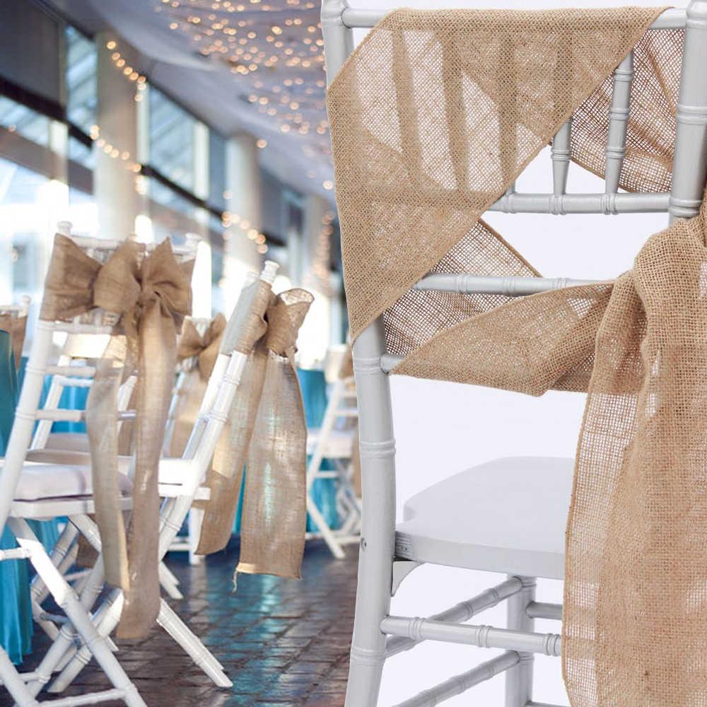 """100 шт мешковины лента бантик на стул лента из мешковины для банкета Свадебная вечеринка ребенок душ стул ручной работы Обложка Декор FR магазин 7 """"x 108"""""""