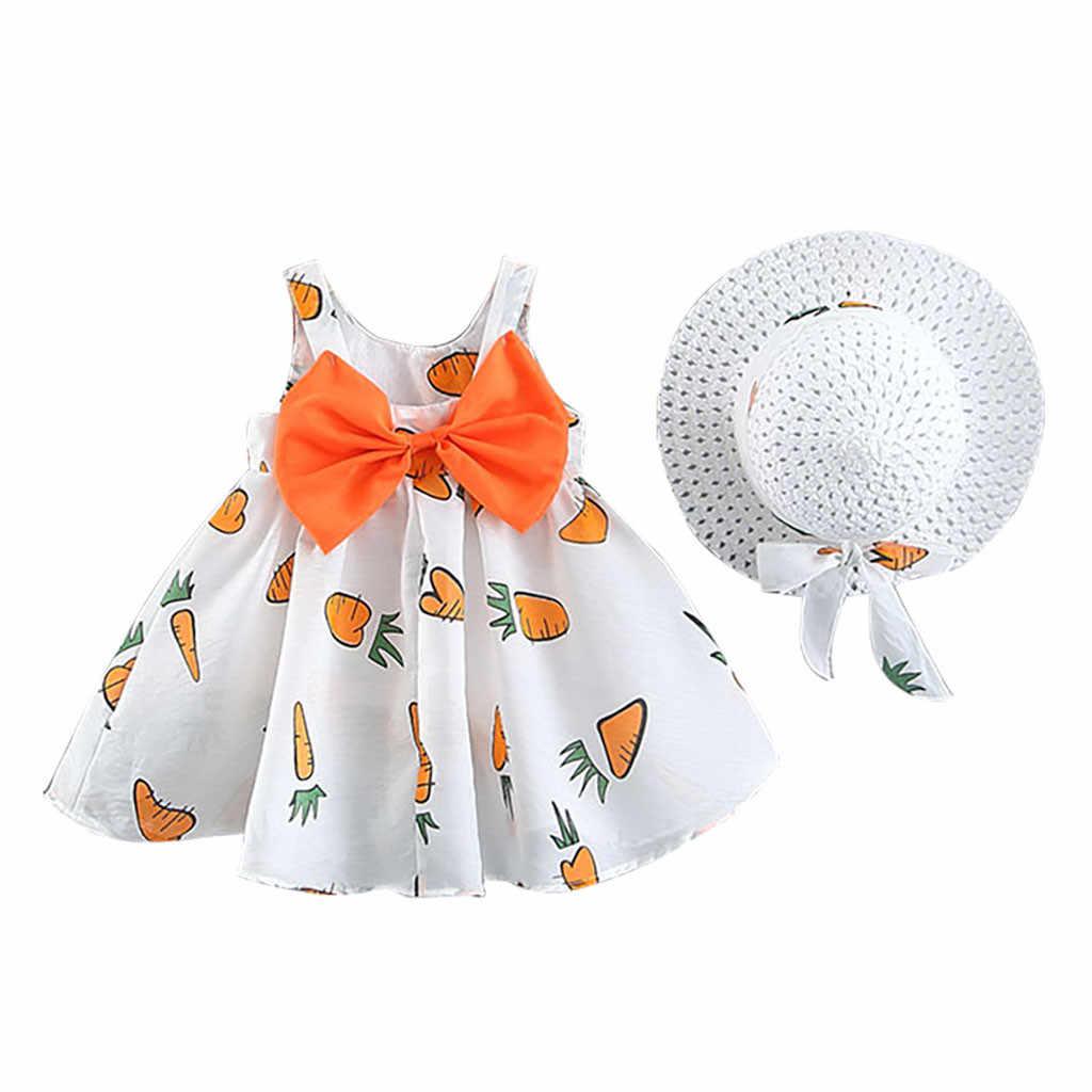 Muqgew для малышей для маленьких девочек фрукты морковь печати платье принцессы с бантом и круглым вырезом, Повседневное и шапочки для детей Детские платья для девочек, robe fille