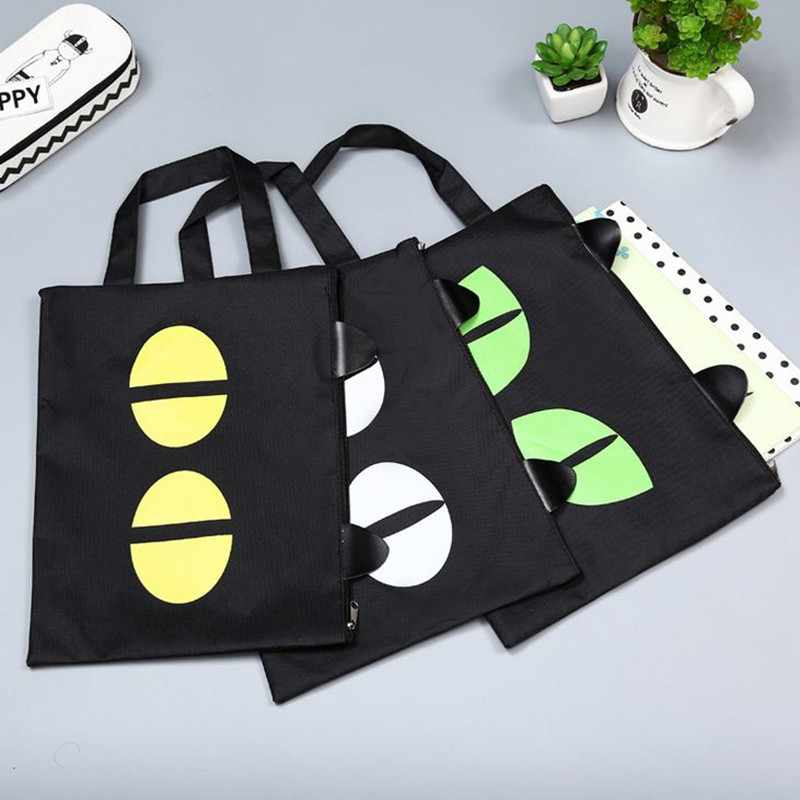 Coloffice 1PC Cute Cartoon A4 Hand Carry File Bag Creative Stationery Cat Oxford With Zipper Filing Production Document Bag