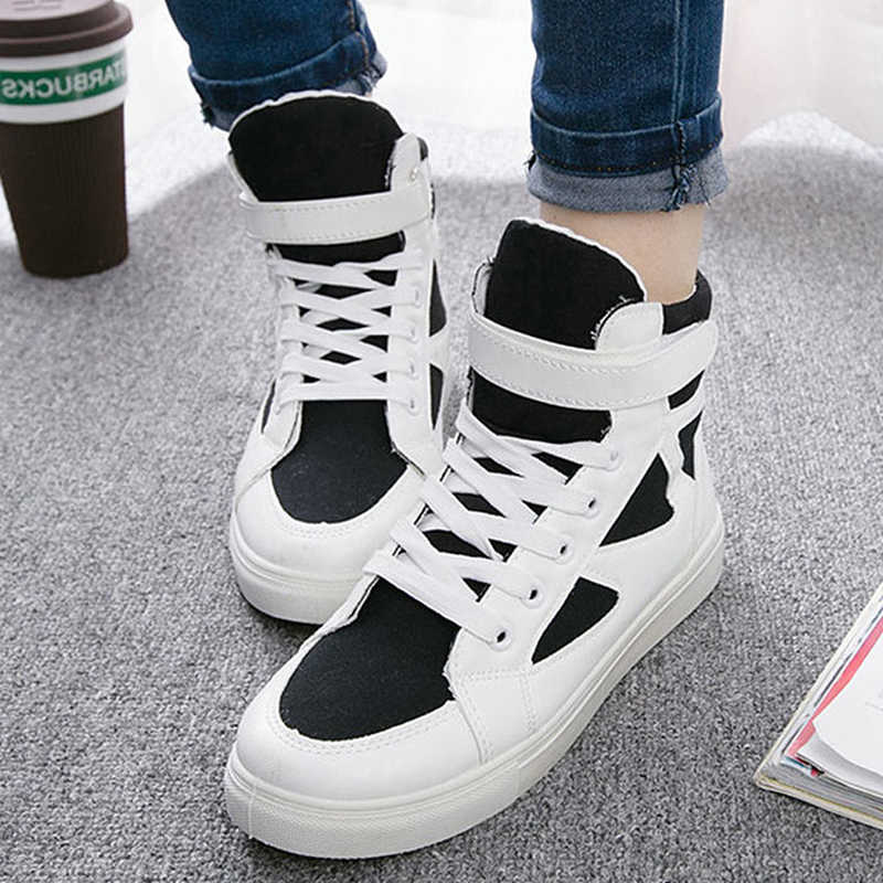 Sommer High Top Sneakers Korb Femme Frauen Casual Leinwand Schuhe Damen Trainer Atmungs Weiß Schuhe Flache Haken & Loop Outdoor