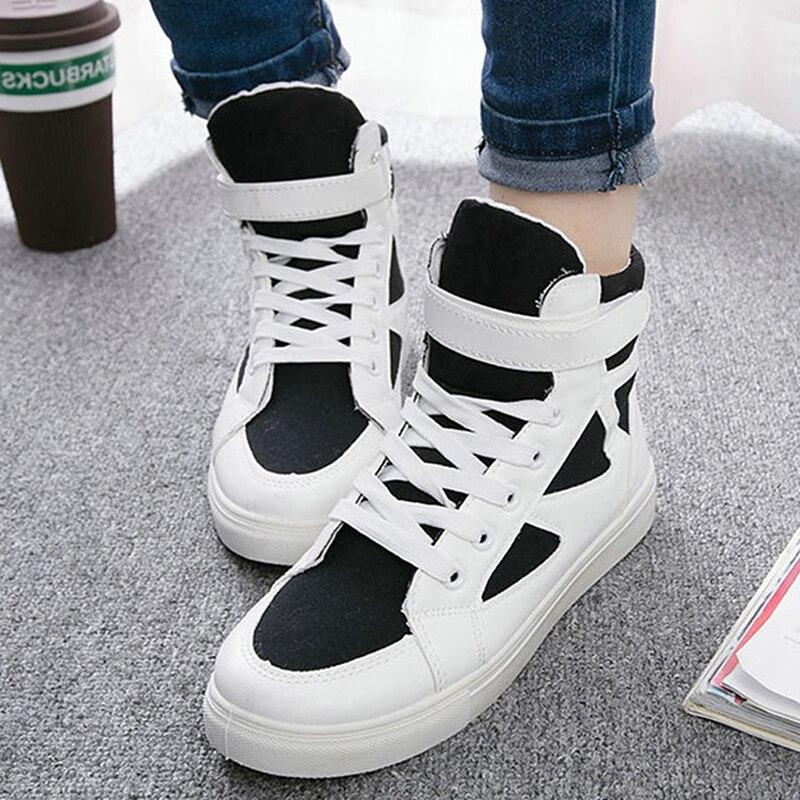 Été haut Top baskets Basket Femme décontracté toile chaussures dames formateurs respirant blanc chaussures plat crochet & boucle en plein air