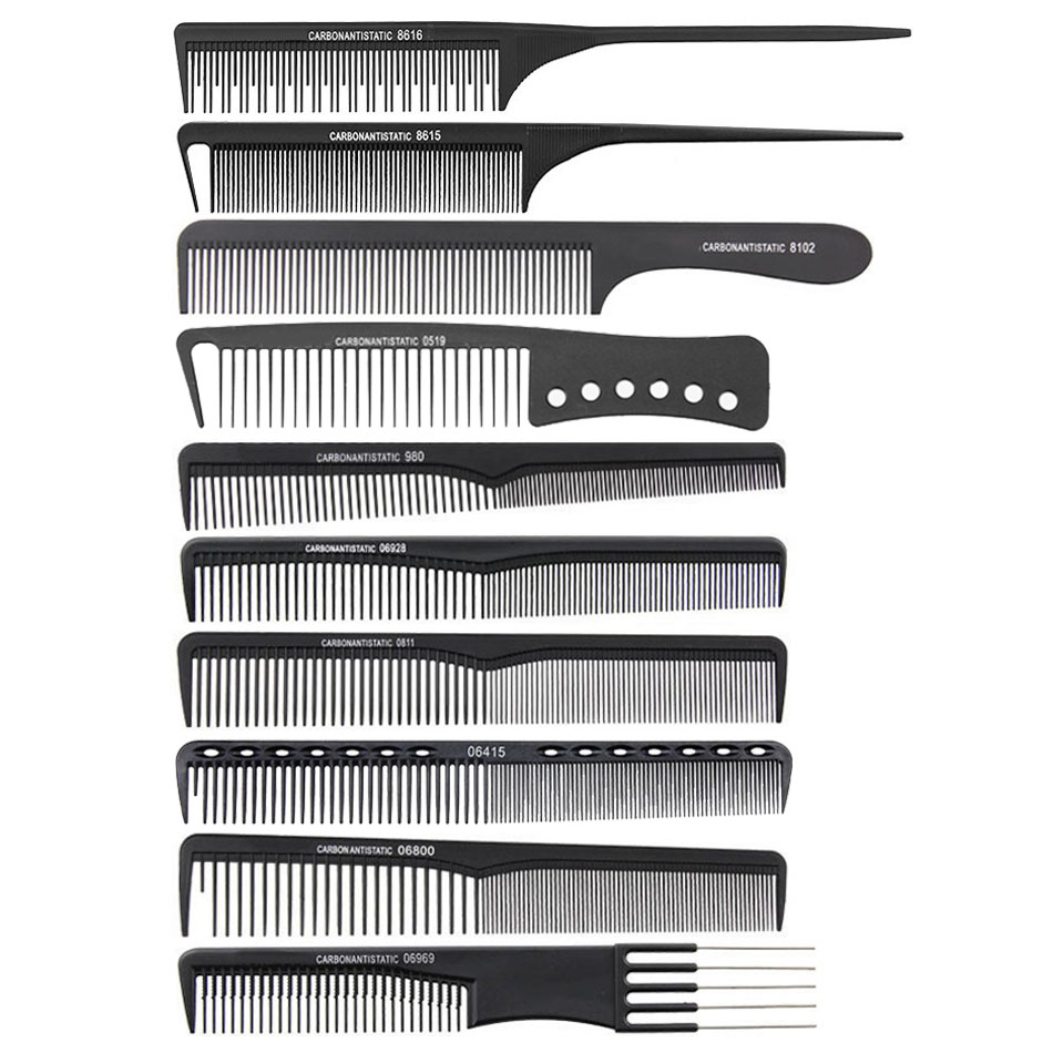 10pcs Black Hairdressing Carbon Comb Kit Haircut Anti Static Comb Find Tooth Master Barber Comb