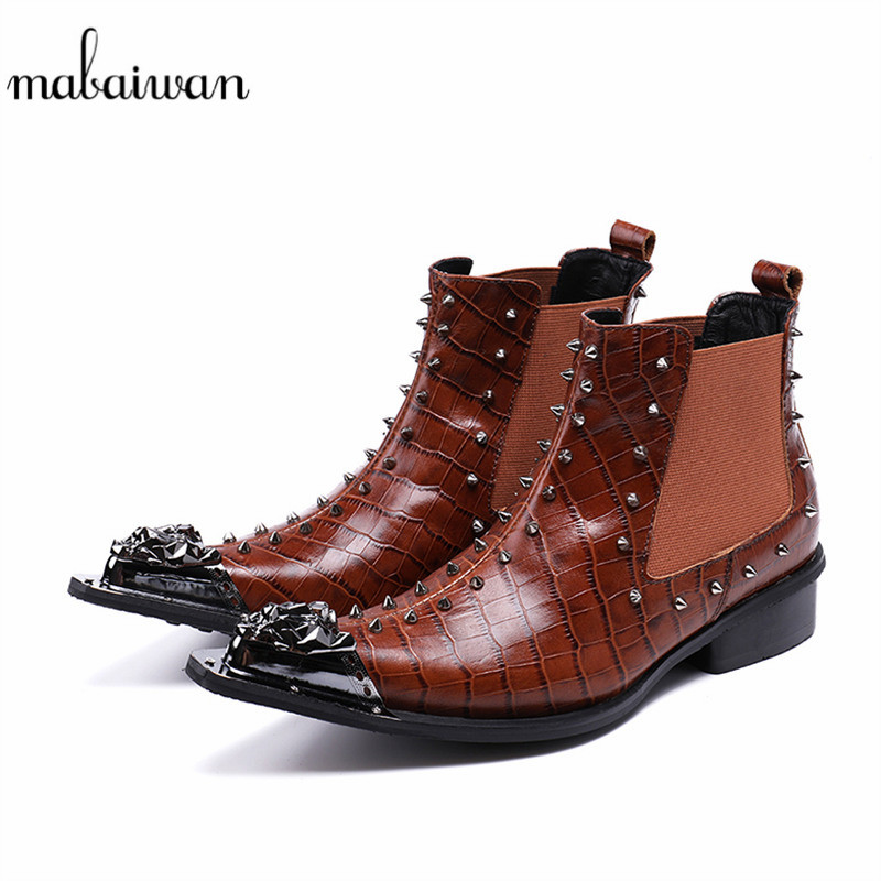 Mabaiwan 2018 Fashion Handmade Rivets Men Shoes Slip On Ankle Boots Genuine Leather Dress Wedding Shoes Men Flats Military Boots red men wedding dress shoes pointed toe ankle boots genuine leather botas hombre cowboy military boots metal decor men flats