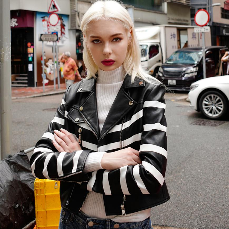 Fashion brand striped pu   leather   jacket female street style was thin zipper stitching short   leather   jacket wq202 dropship