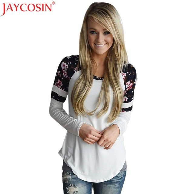 JAYCOSIN T-shirt Female Cotton Shirt Womens Tops Basic Shirts Female Long-sleeve Christmas T Shirt Free Shiping 13p