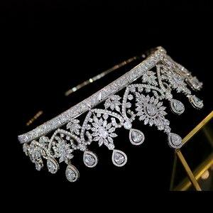 Image 5 - ใหม่หรูหรารูปร่างผู้หญิงเจ้าสาวงานแต่งงาน Tiaras Coroa De Noiva ประกาย Tiaras และ Crown headband อุปกรณ์เสริมผม