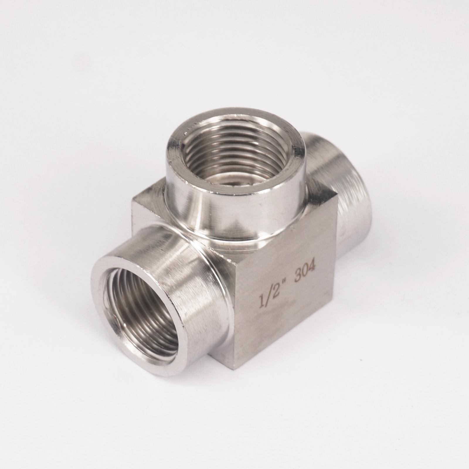 Tee 3 Way 304 Stainless Steel Pipe Fitting Connector Adapter Equal 1/2 BSP Female Threaded Max Pressure 2.5 Mpa 1 2 male thread equal 300mm extension tube pipe fitting 304 stainless steel connector