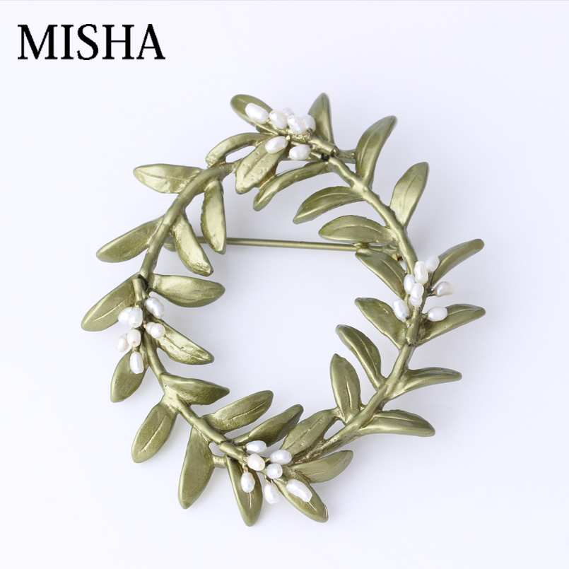 MISHA 925 Sterling Silver Handmade Fine Jewelry Party Tree Shape Natural Pearl Brooch Pins For Women Wedding Bridal Gift 2408 tree branch pearl brooch
