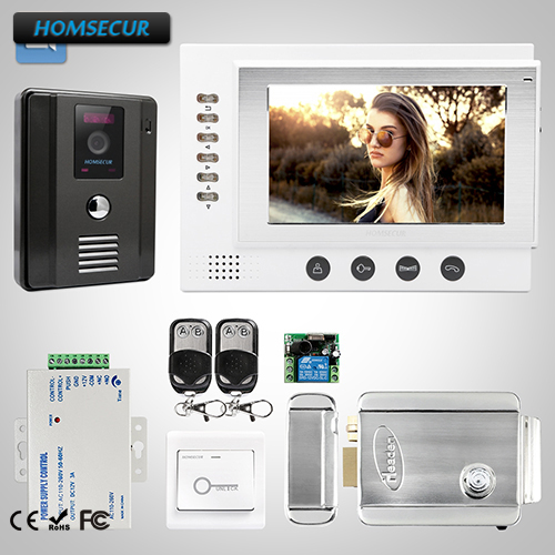 HOMSECUR 7 Wired Video&Audio Home Intercom Electric Lock+Keys Included 1C1M: TC011-B Camera(Black)+ TM701R-W Monitor(White)HOMSECUR 7 Wired Video&Audio Home Intercom Electric Lock+Keys Included 1C1M: TC011-B Camera(Black)+ TM701R-W Monitor(White)