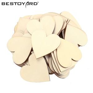 BESTOYARD 50pcs 60mm Blank Wooden Heart Crafts Supplies Laser Wood Wedding Decoration Children Teaching DIY Picture Accessories(China)