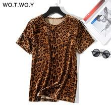 WOTWOY Leopard Print T shirts Women 2019 Spring Summer Hot Tees Casual O-Neck Short Sleeve Harajuku Cool T-shirt Female Tops