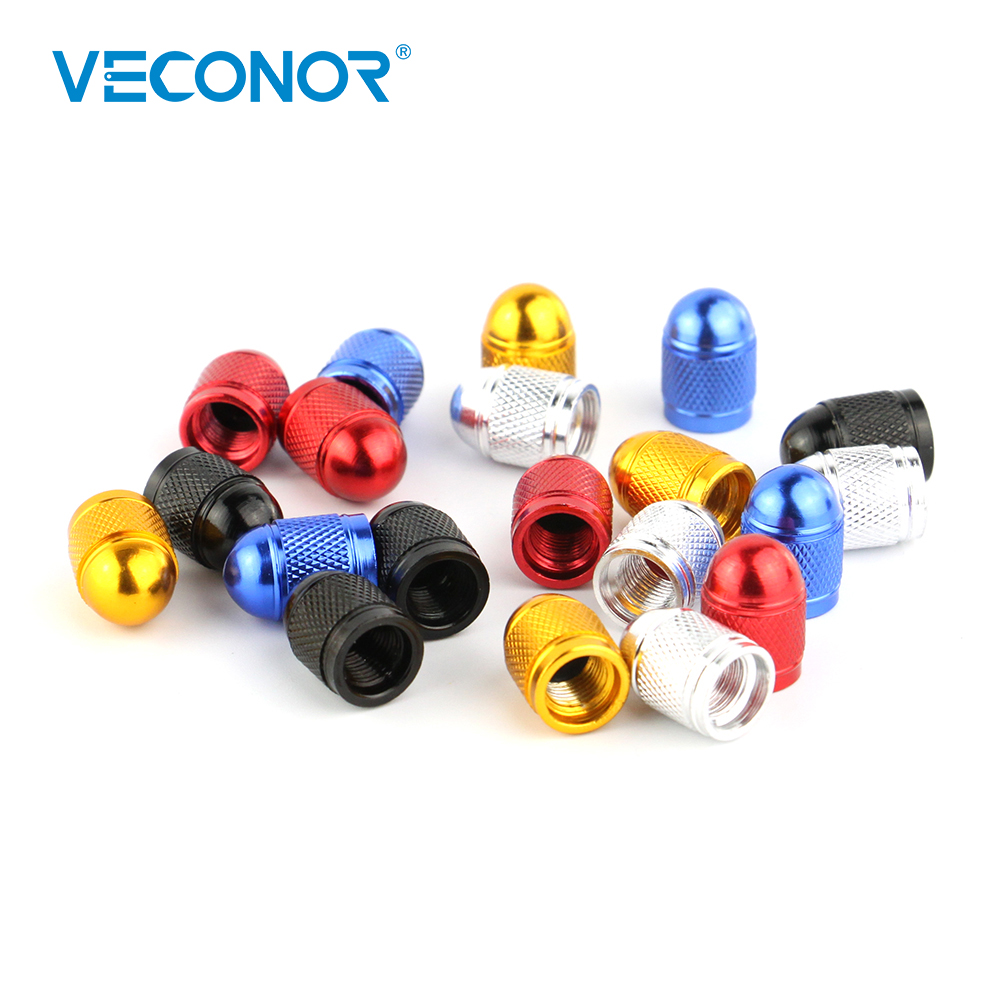 VECONOR 4pcs Universal Aluminum Bullet Style Automotive Tyre Caps Motorcycle Bicycle Wheel Tire Valve ryanstar racing car universal 16 5mm aluminum alloy tire tyre valve caps