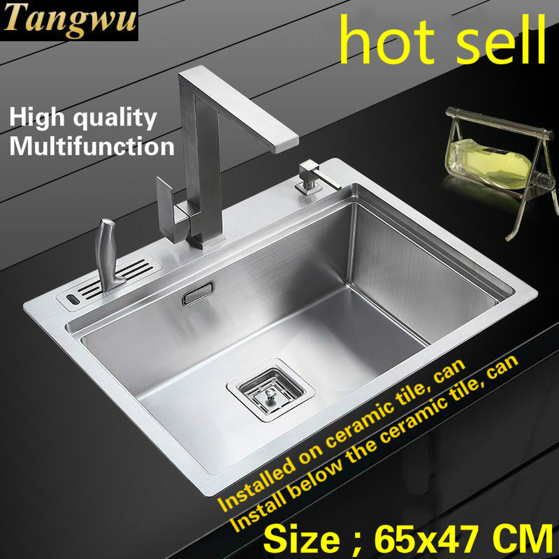 Tangwu Apartment Food Grade 304 Stainless Steel Kitchen Sink Large Single Slot 4 Mm Thickening Handmade 65x47 CM
