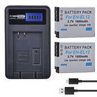 2 uds EN-EL12 ENEL12 es EL12 Cámara batería + cargador USB con LCD para cámara Nikon Coolpix S9900 S9700 AW120 S9500 AW110 S70