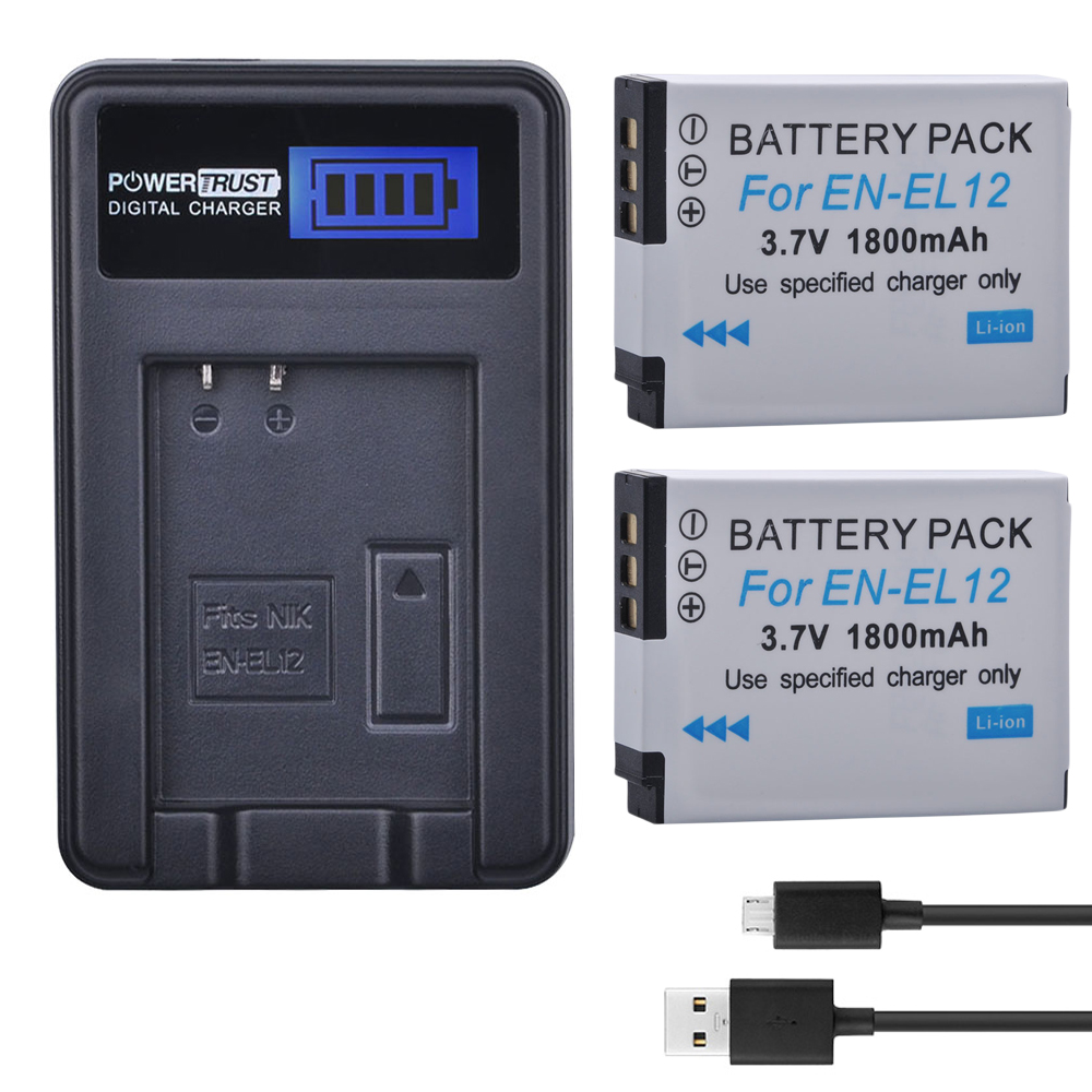 2Pcs EN-EL12 ENEL12 EN EL12 Camera Battery  + LCD USB Charger for Nikon Camera Coolpix S9900 S9700 AW120 S9500 AW110 S70
