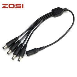 ZOSI разделитель мощности постоянного тока 4 Way Мощность Splitter кабель 1 штекер до 2 двойной Женский Шнур для видеонаблюдения камера 5,5 мм/2,1 мм