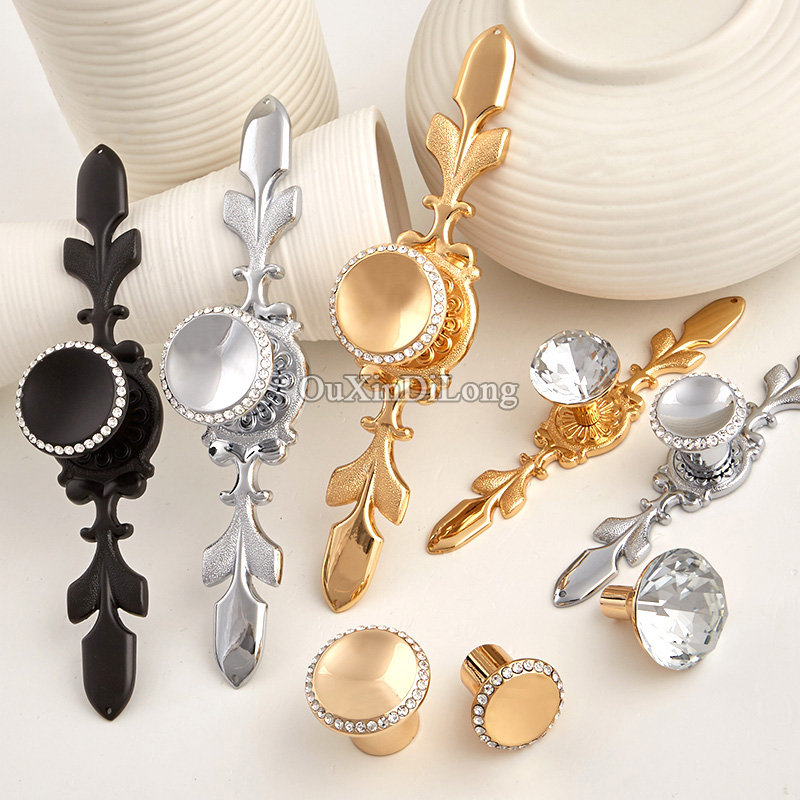 Luxury Style 10PCS European Inlaid Crystal Kitchen Door Furniture Handle Cupboard Drawer Wardrobe Cabinet Pulls Handles & Knobs l door handle furniture handles black drawer kitchen cabinet door handle grips hole pitch handle pulls