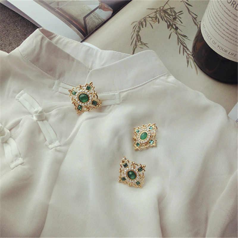 W stylu Vintage etniczne styl inkrustowane zielony kamienie półszlachetne sztuczna perła broszka 925 igły srebrny kolczyki klip ucha naszyjnik garnitur