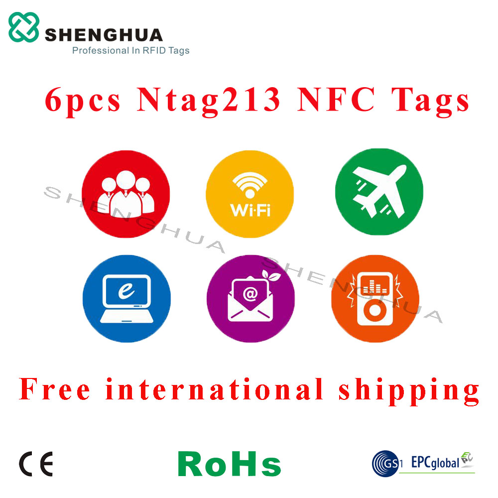 6pcs/pack Custom Designed RFID NFC Key Tags Cheap Sleutel Label Karton Anti Theft Label Sticker For All NFC Android Phone