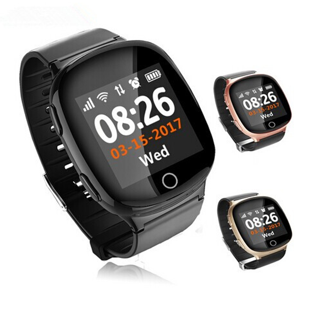 New D100 Elder Smart Heart Rate Watch GPS Tracking Watch Pedometer Sleep Monitor Voice Intercom SOS Fall-down Alarm. english smart watch d100 elderly heart rate monitor fall down alarm function gps lbs wifi tracker montre connecter android f36