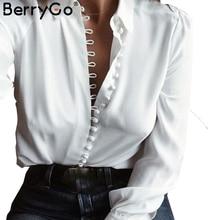 BerryGo Elegant long sleeve white blouse shirt Women casual streetwear shirt top Female cotton beach button shirt camisa 2017
