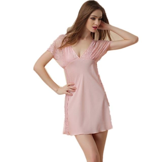 2016 New Arrival Hollow Out Lace Sexy Girl Suspender Mini Pyjamas Luxury Womens Summer Nightwear Silk Nightgown Sleepshirt