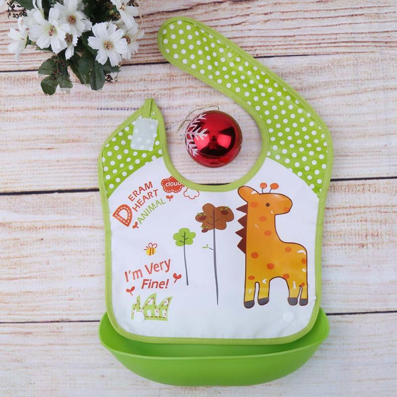 Cartoon Lion Print Newborn Functional Food Bibs Baby Waterproof Removal Feeding Bib Thicken EVE Silicone Bibs Baby Silicone Bibs ...