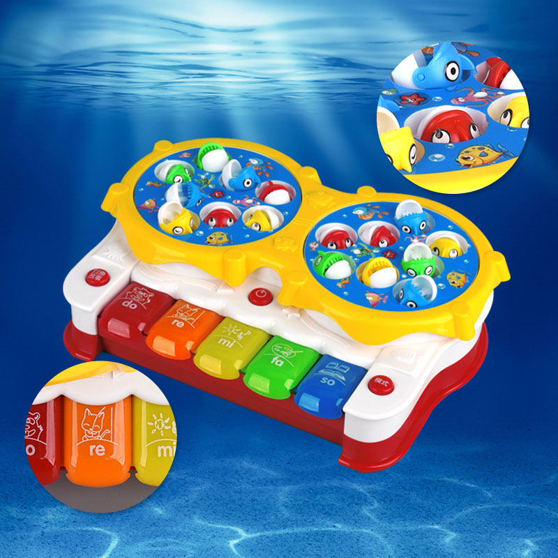 2in1 Function Baby Kids Toys Classical Songs Fishing&Music Toy with Lights Toy Gifts M09