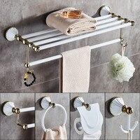 Bathroom Accessories Set, Gold and White Paper Holder,Towel Bar,Soap basket,Towel Rack,Glass Shelf,Hooks bathroom Hardware set