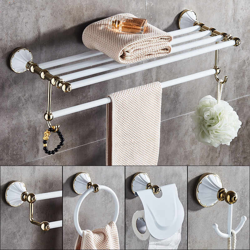 Aksesoris Kamar Mandi Set, Emas dan Putih Kertas Pemegang Handuk Bar Sabun Keranjang Rak Handuk, rak Kaca, Kait Kamar Mandi Hardware Set