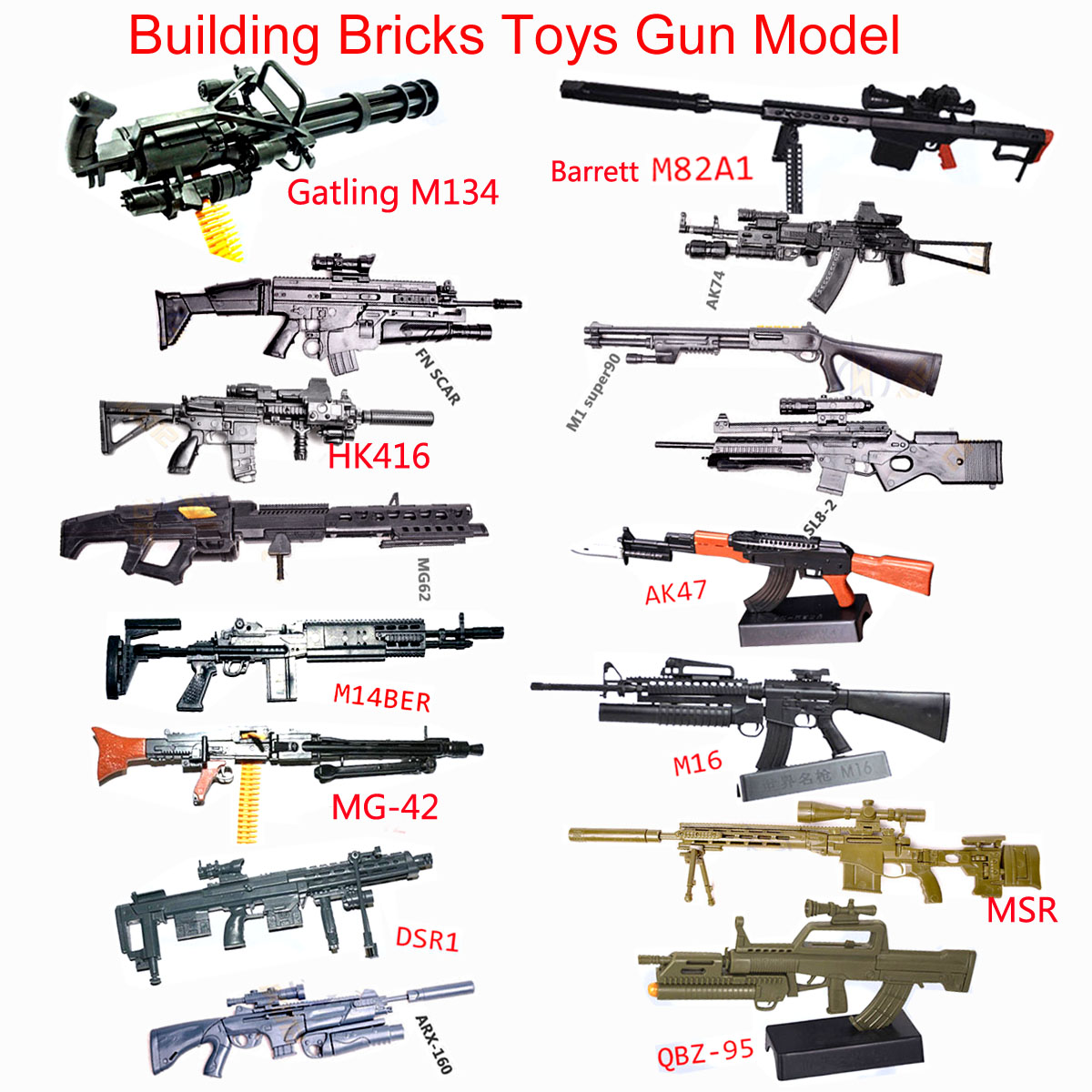 1:6 Scale Toy Gun Model M134 MG42 AK47 98K Rifle Puzzles Building Bricks Assembly Gun Model PUBG Weapon For Action Figure