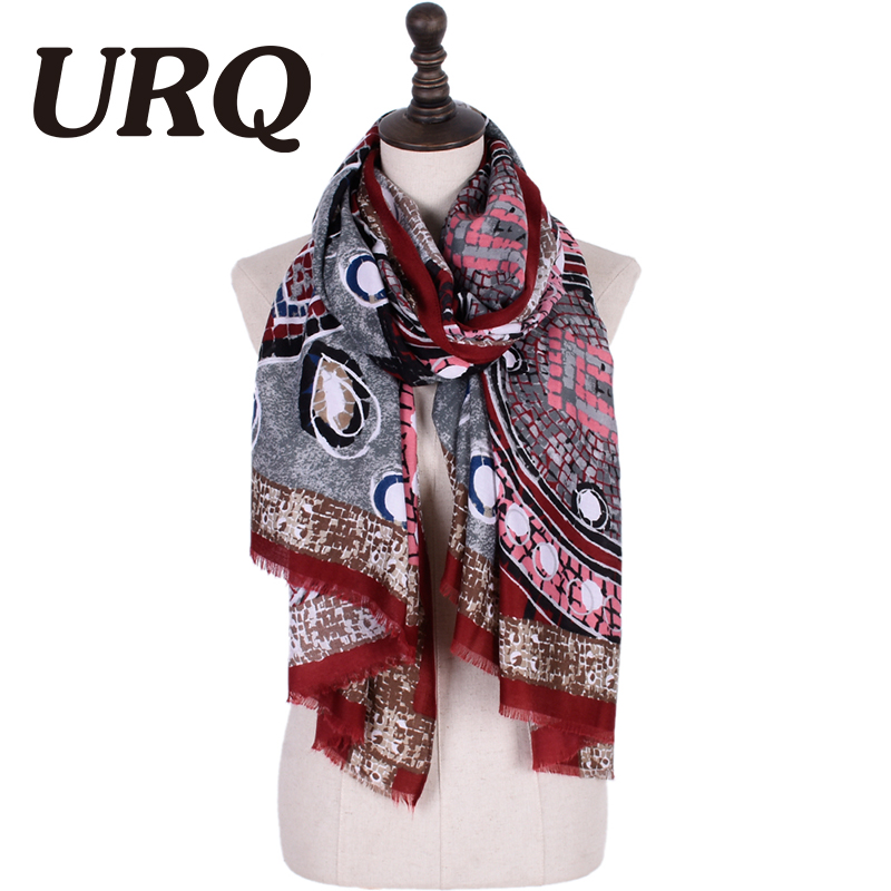 URQ Womens scarves Light Weight Oblong Large Scarf Shawl Retro Style Woman Printed Cotton Scarf luxury scarfs V9068