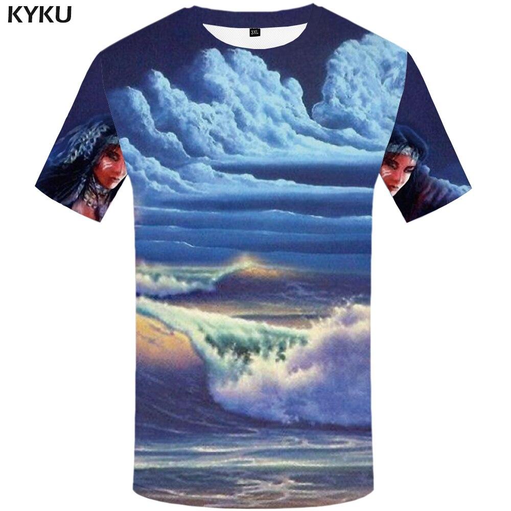 KYKU Indians Tshirt Men White Feather T Shirt Hip Hop Anime Clothes Character 3d Print T-Shirt Punk Rock Mens Clothing Summer