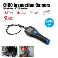 Free Shipping!C100 Dia 5.5mm 2.7″ Endoscope Borescope Inspection Snake 1m Tube Camera Zoom Rotate
