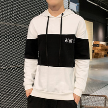 Hit Color Spliced Men Hooded Sweatshirts Fashion Embroidery Mens Long Sleeve Pullover