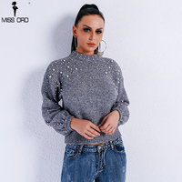Missord 2018 Autumn And Winter Round Neck Loose Sweater Women Hand Work Pearl Decorative Female Knitted Sweater FT9070