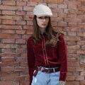 Veri Gude Mulheres Camisa de Veludo de Manga Comprida Colorblock Frente Blusa Vintage
