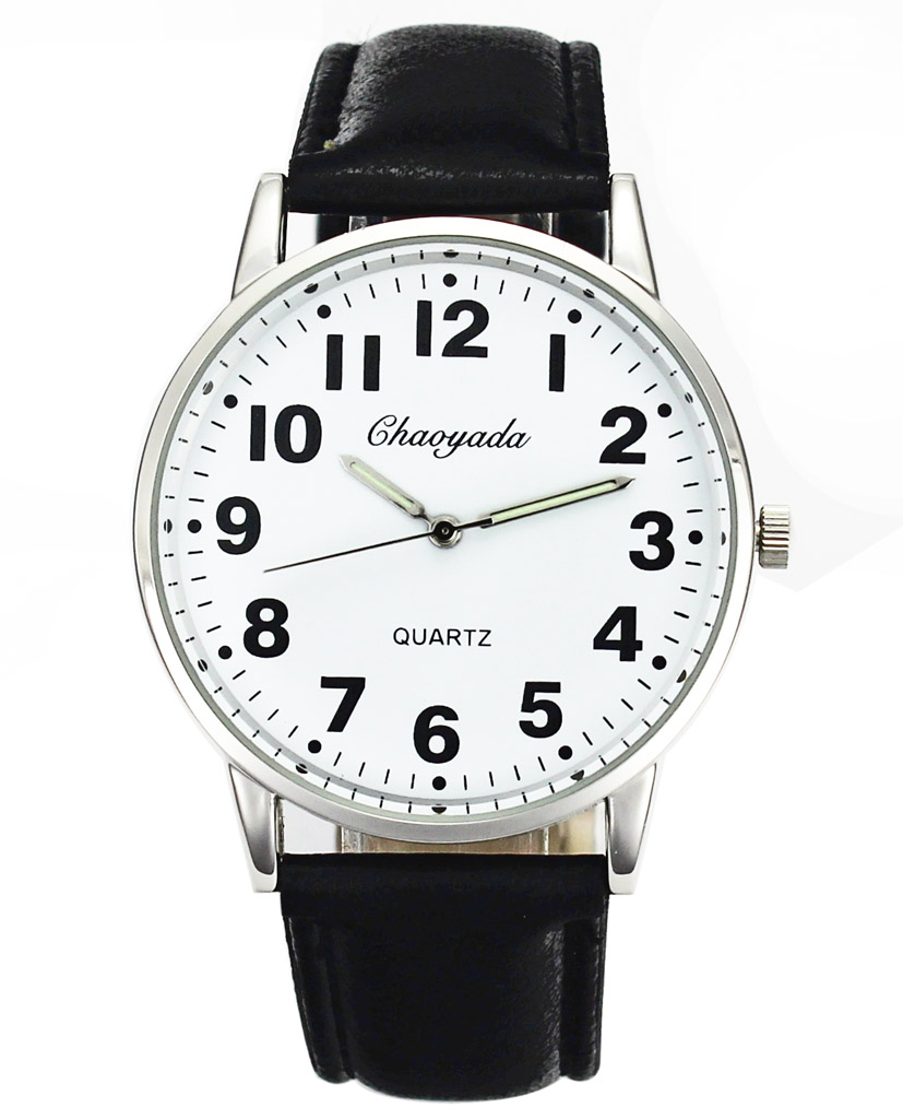 Men Women Casual Simple Black White Leather Female Male Deals Cheap Analog Quartz Wrist Watch 3